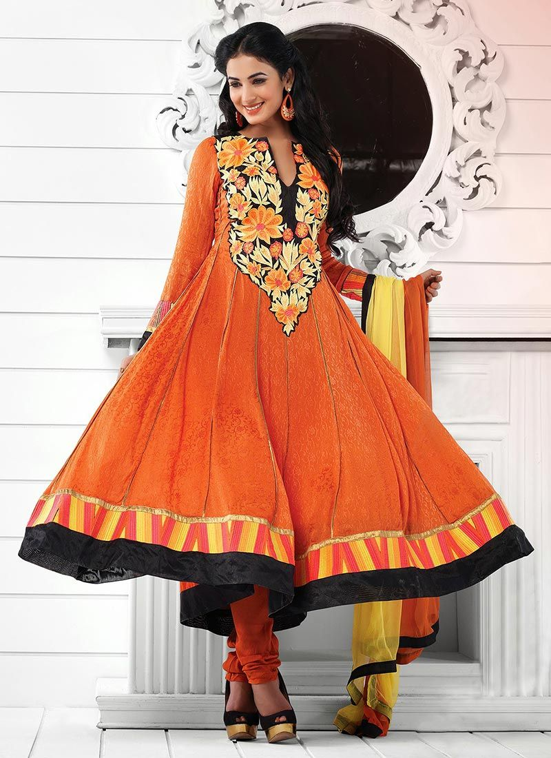 Jacquard Orange And Black Stylish Anarkali Suit