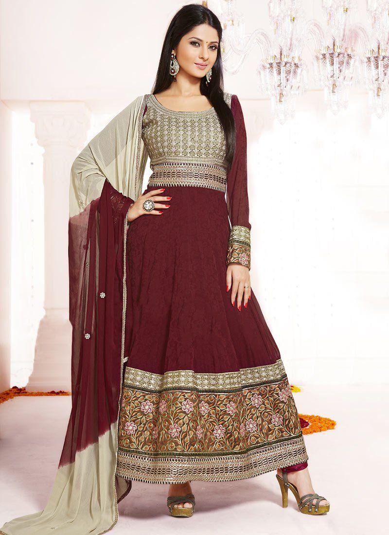 Maroon Embroidery Border Work Anarkali Suit