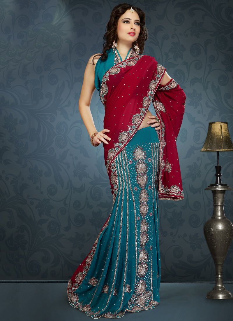 Maroon Teal Blue Lehenga Saree
