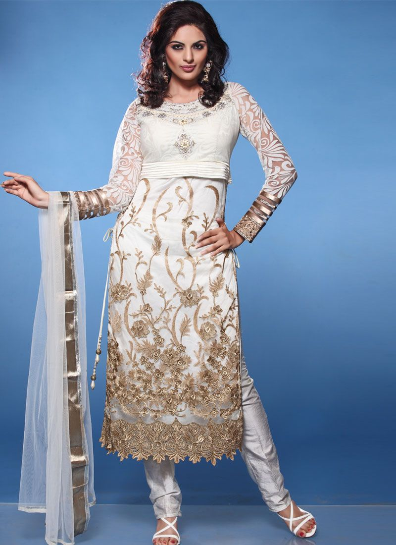 Off White Cut Work Net Churidar Salwar Suit