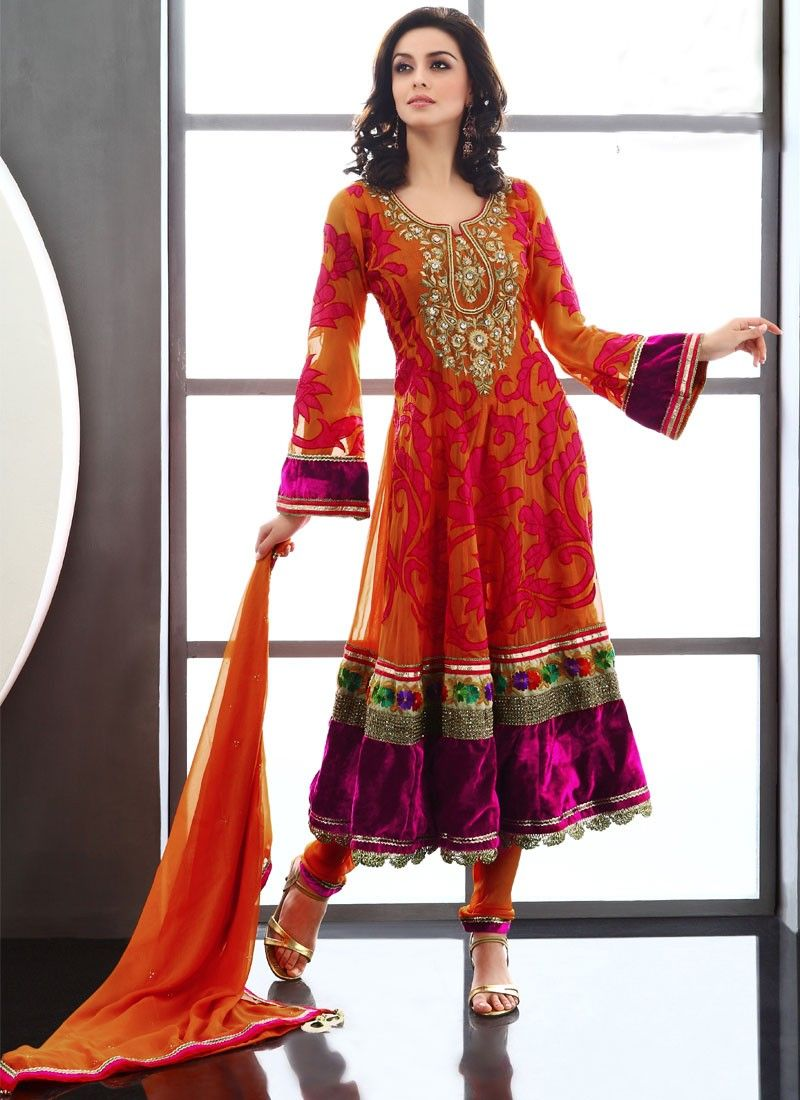 Orange Viscose Anarkali Suit
