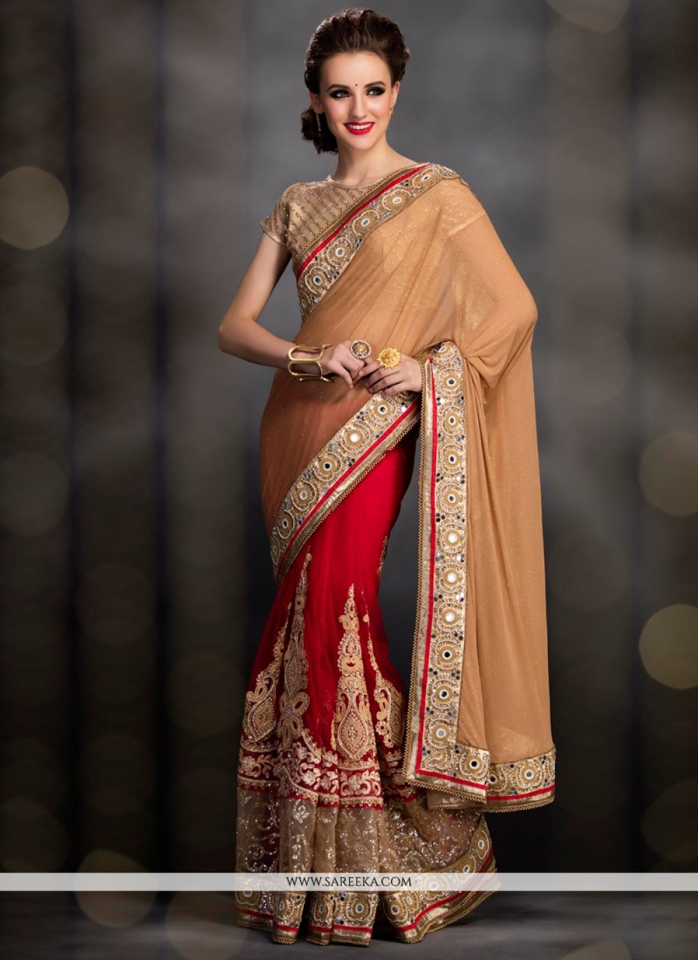 Red and Beige Embroidered Work Net Designer Bridal Sarees