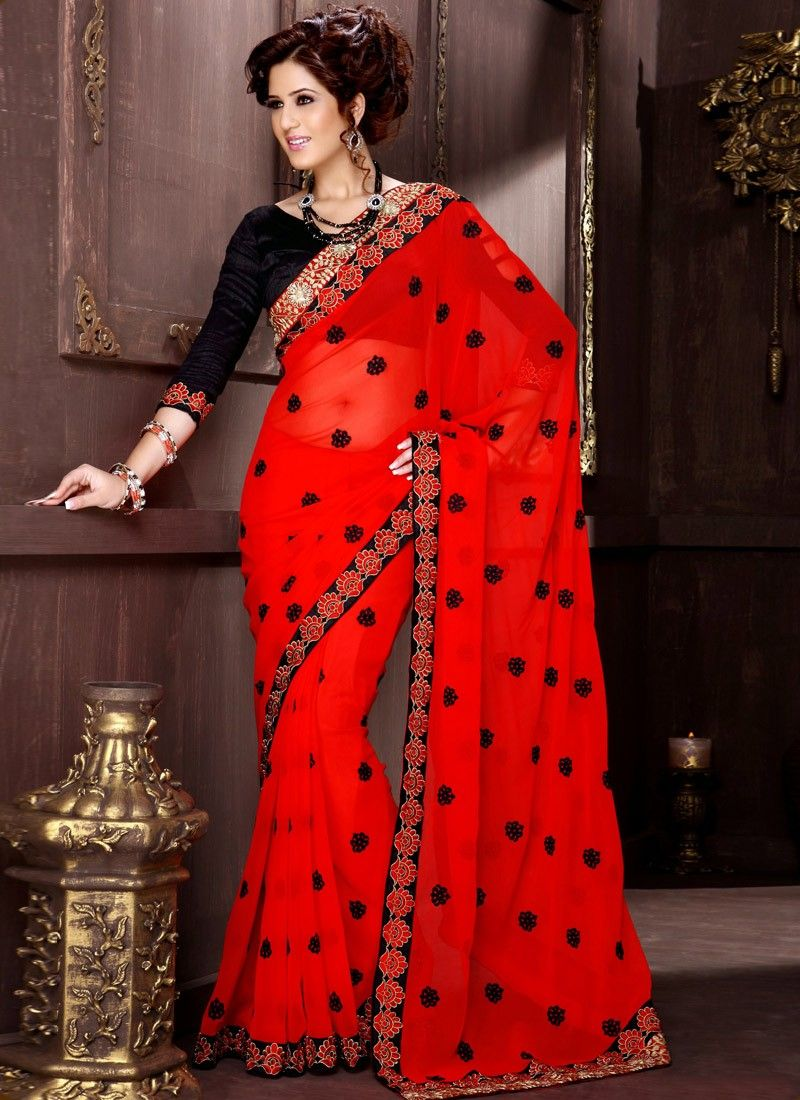 Red Patch Border Work Half And Half Saree