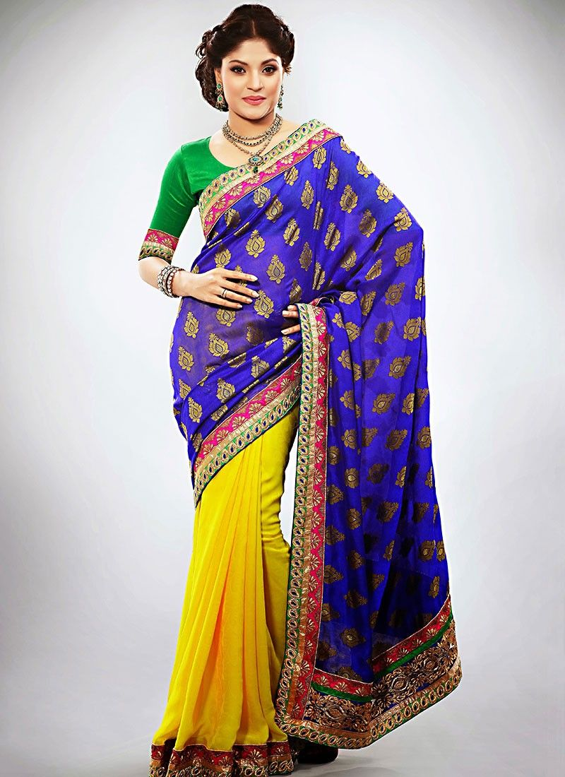 Imressive Yellow Embroidered Work Half And Half Saree