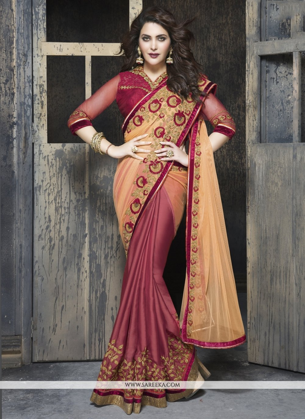 Maroon Patch Border Work Chiffon Satin Designer Saree