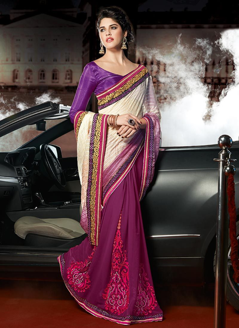 Purple Resham Embroidered Half And Half Saree