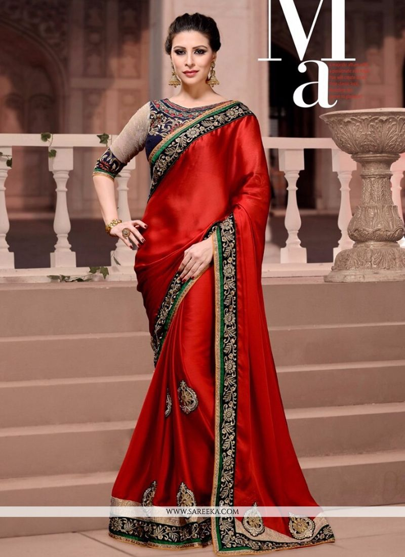 Red Patch Border Work Satin Designer Saree