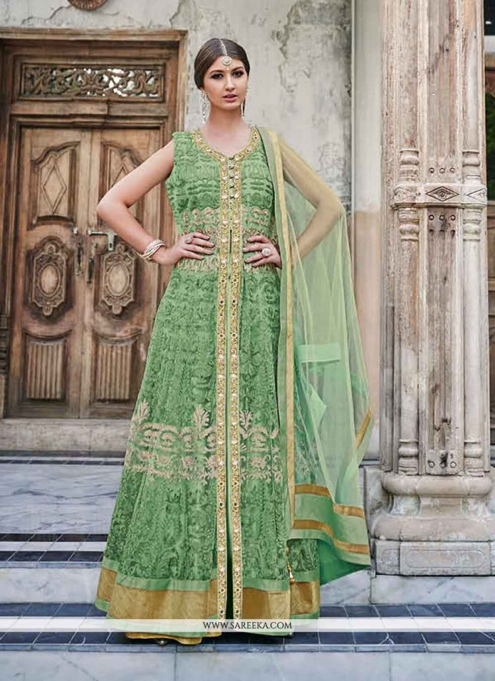 Resham Work Net Anarkali Salwar Kameez