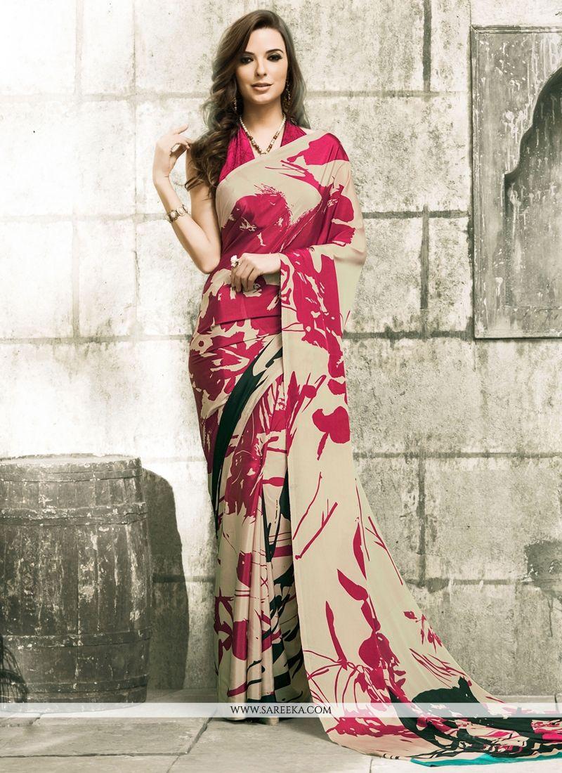 Crepe Silk Print Work Casual Saree
