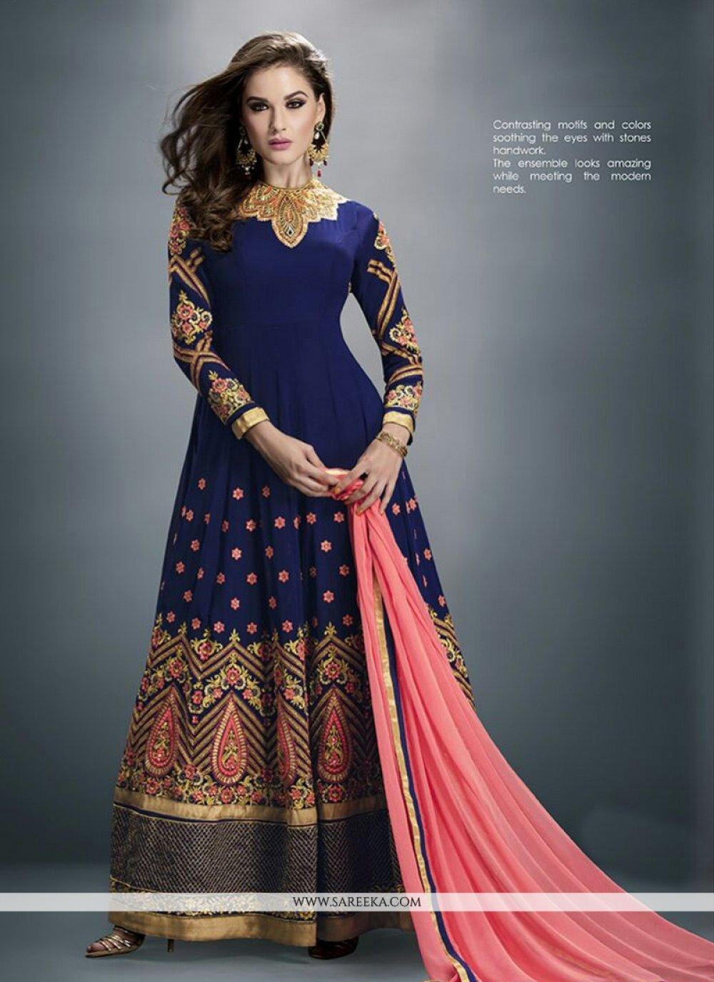 Georgette Embroidered Work Anarkali Salwar Suit