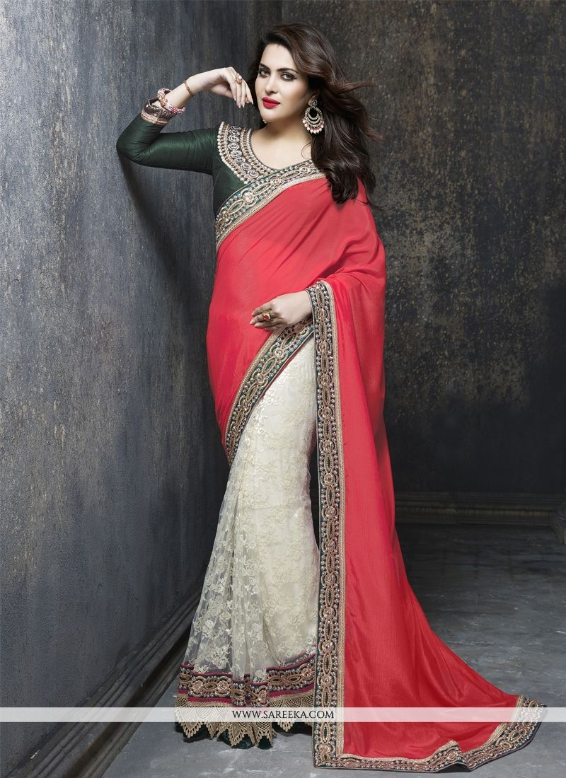 Net Cream and Red Designer Saree