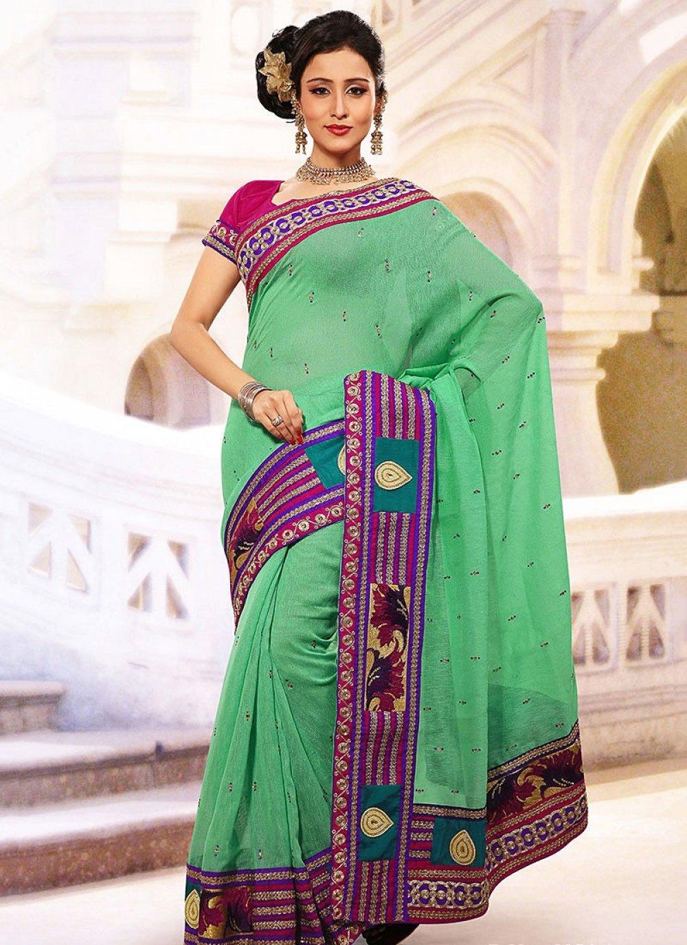 Teal Green Linen Jute Silk Saree