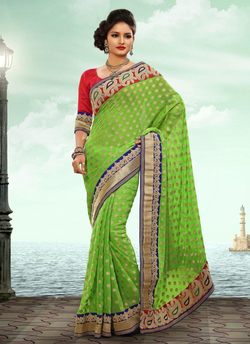 Inovating Green Resham Work Wedding Saree