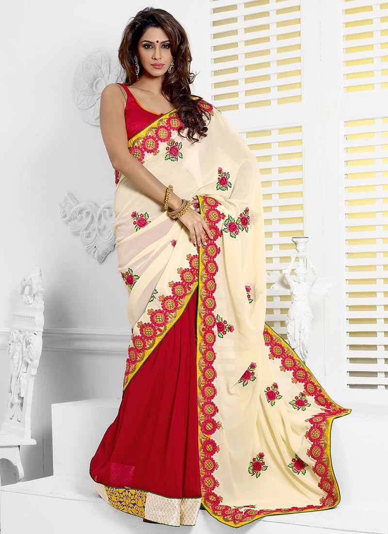 Inspiring Cream And Red Half And Half Saree