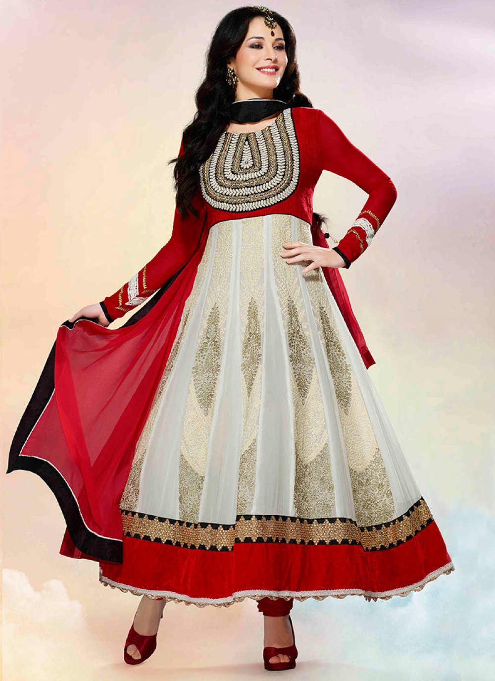 Inspiring Off White And Red Georgette Anarkali Suit