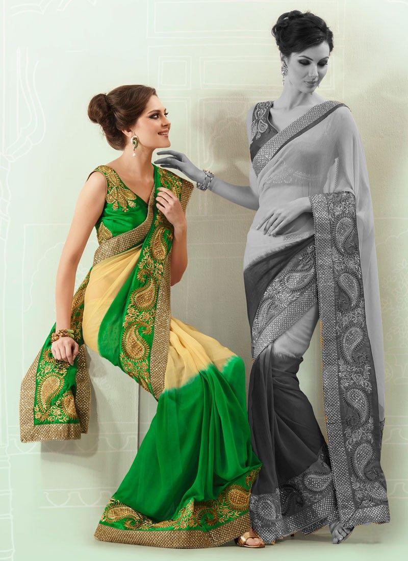 Inspiring Zari Embroidered Faux Georgette Saree