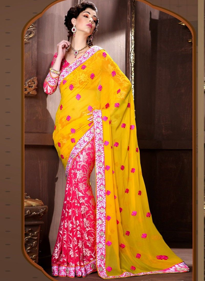 Intangible Yellow Zardosi Work Half And Half Saree