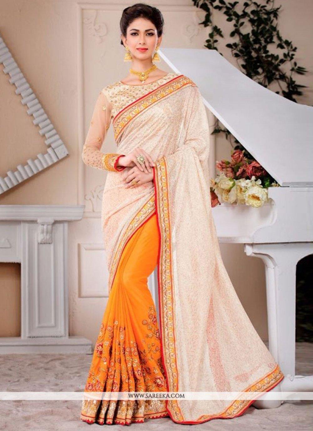 Cream and Orange Embroidered Work Faux Chiffon Designer Saree
