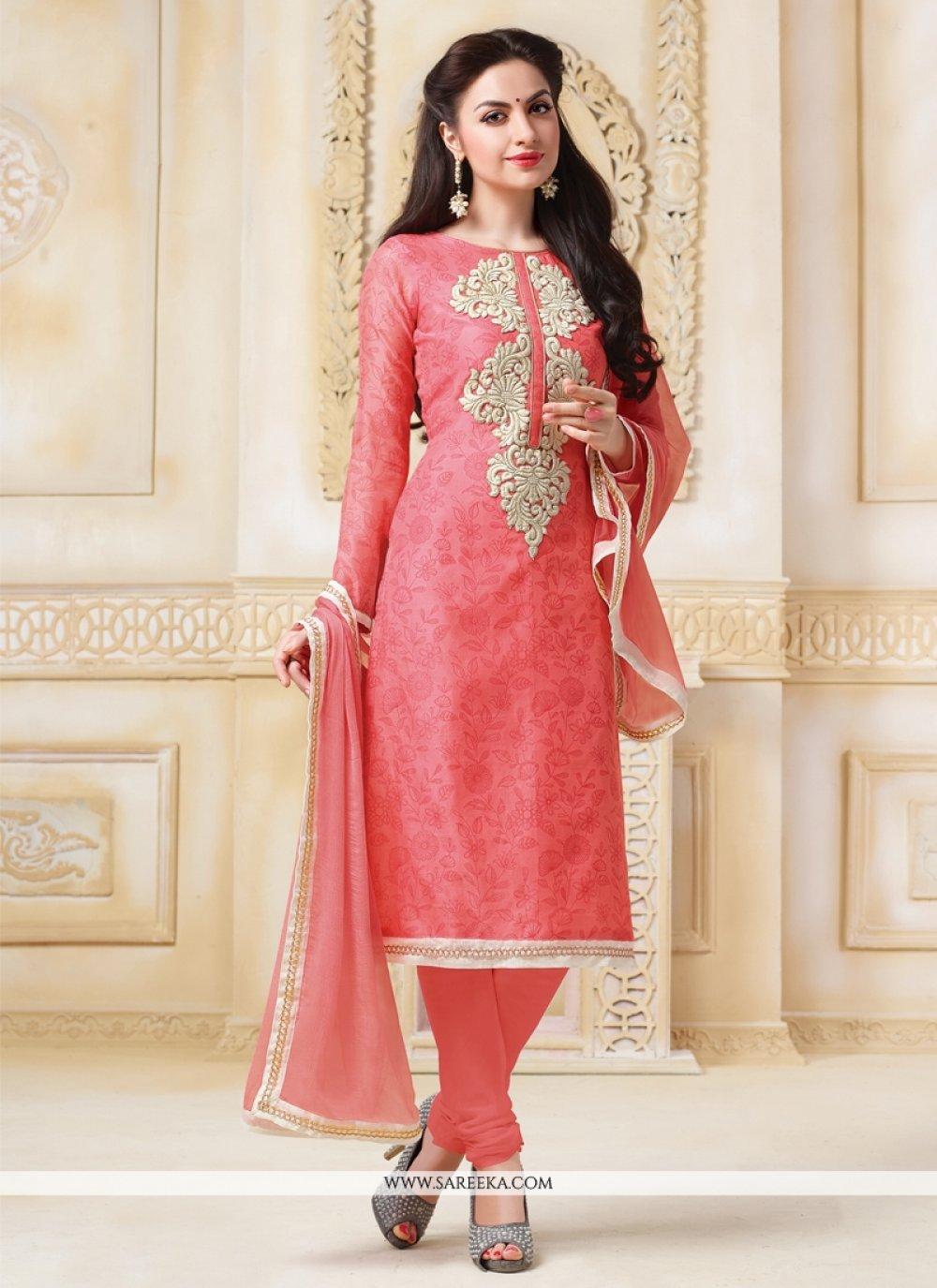Embroidered Work Peach Banarasi Silk Churidar Designer Suit