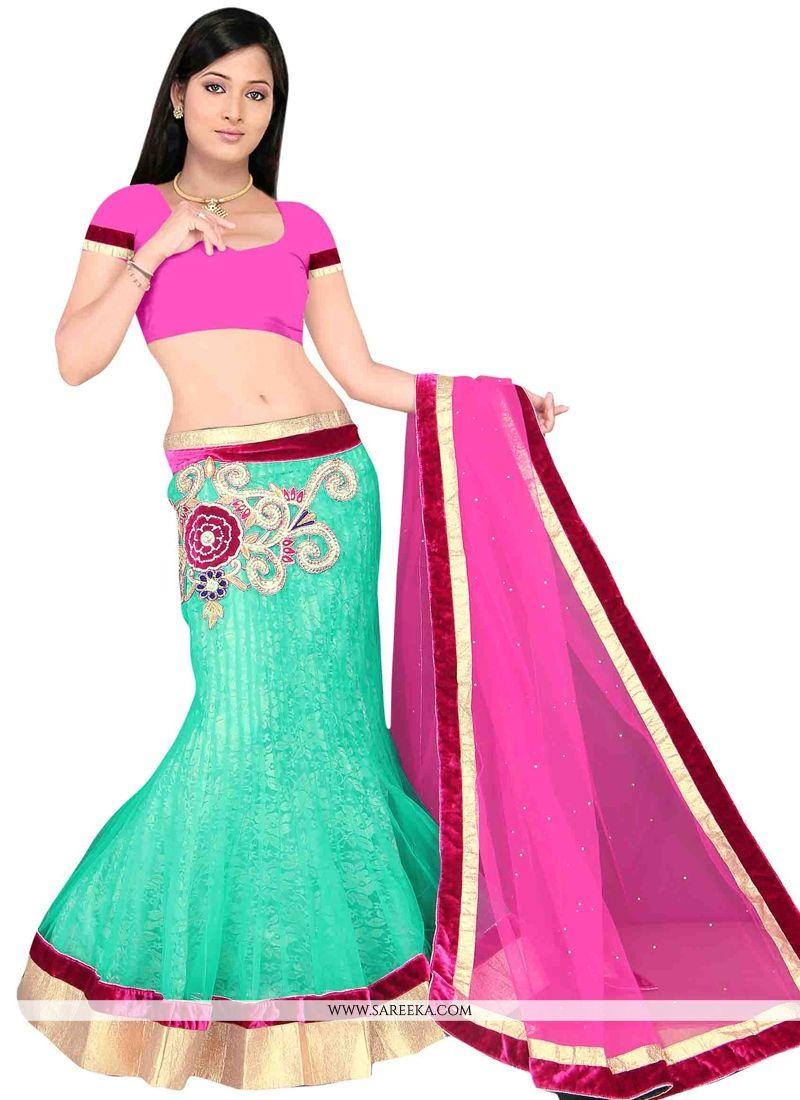 Hot Pink and Sea Green Net A Line Lehenga Choli