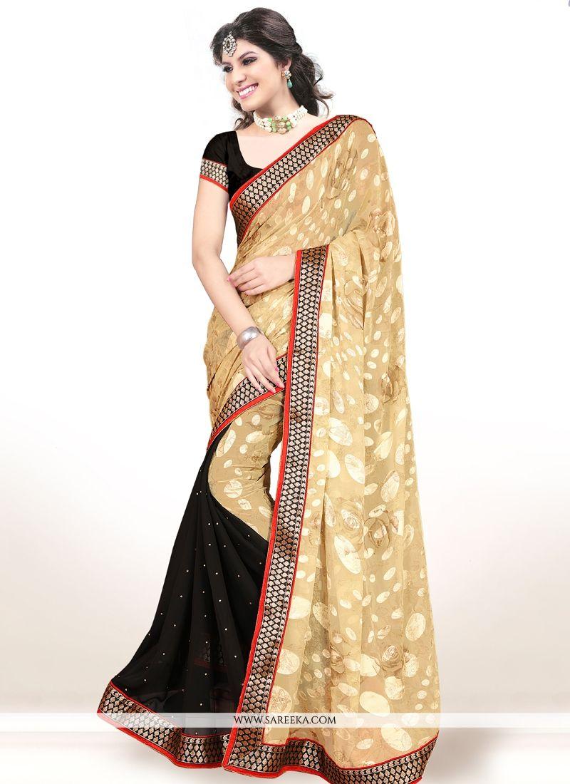 Lace Work Brasso Designer Half N Half saree