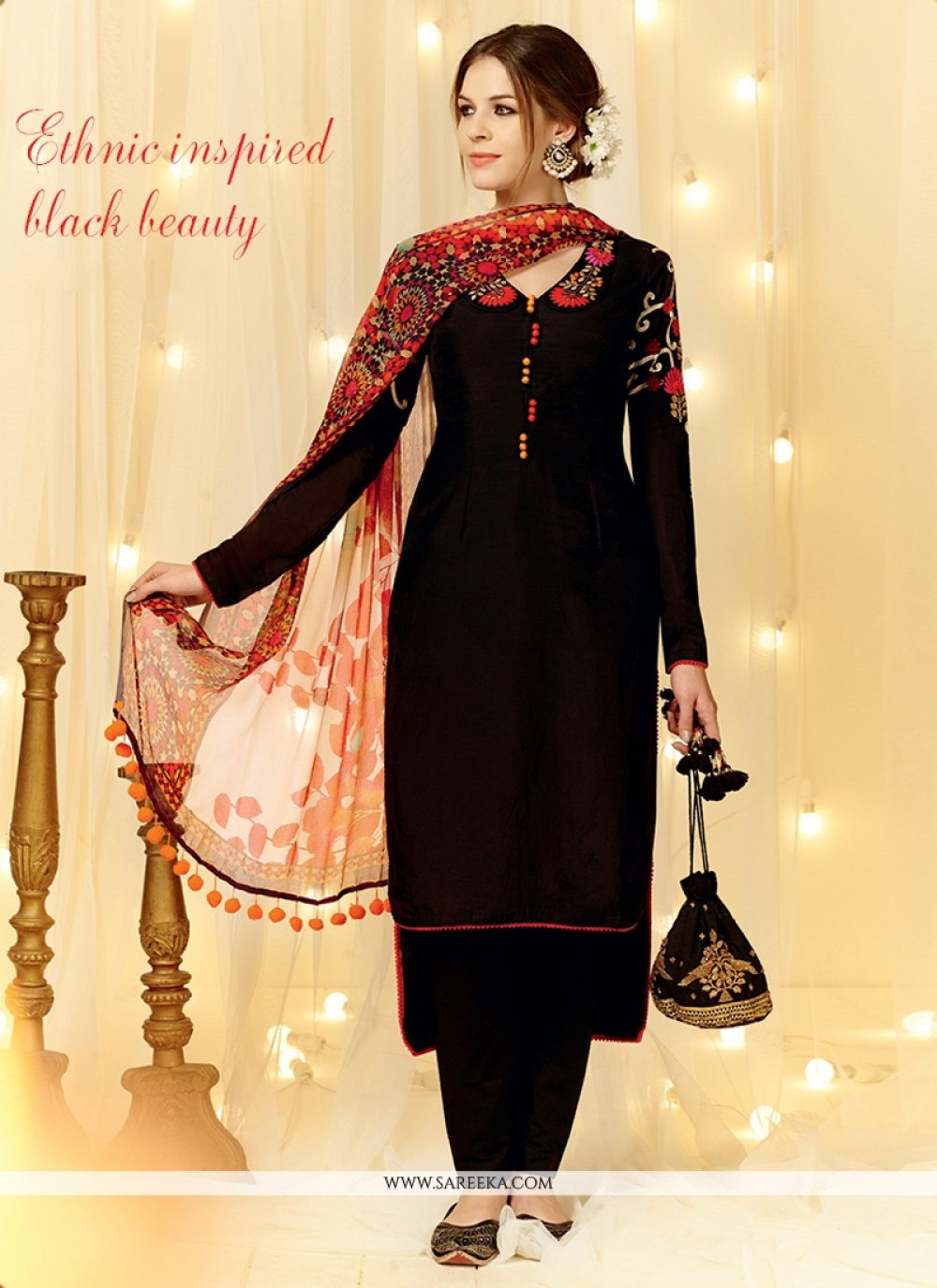 Black Embroidered Work Designer Straight Salwar Suit