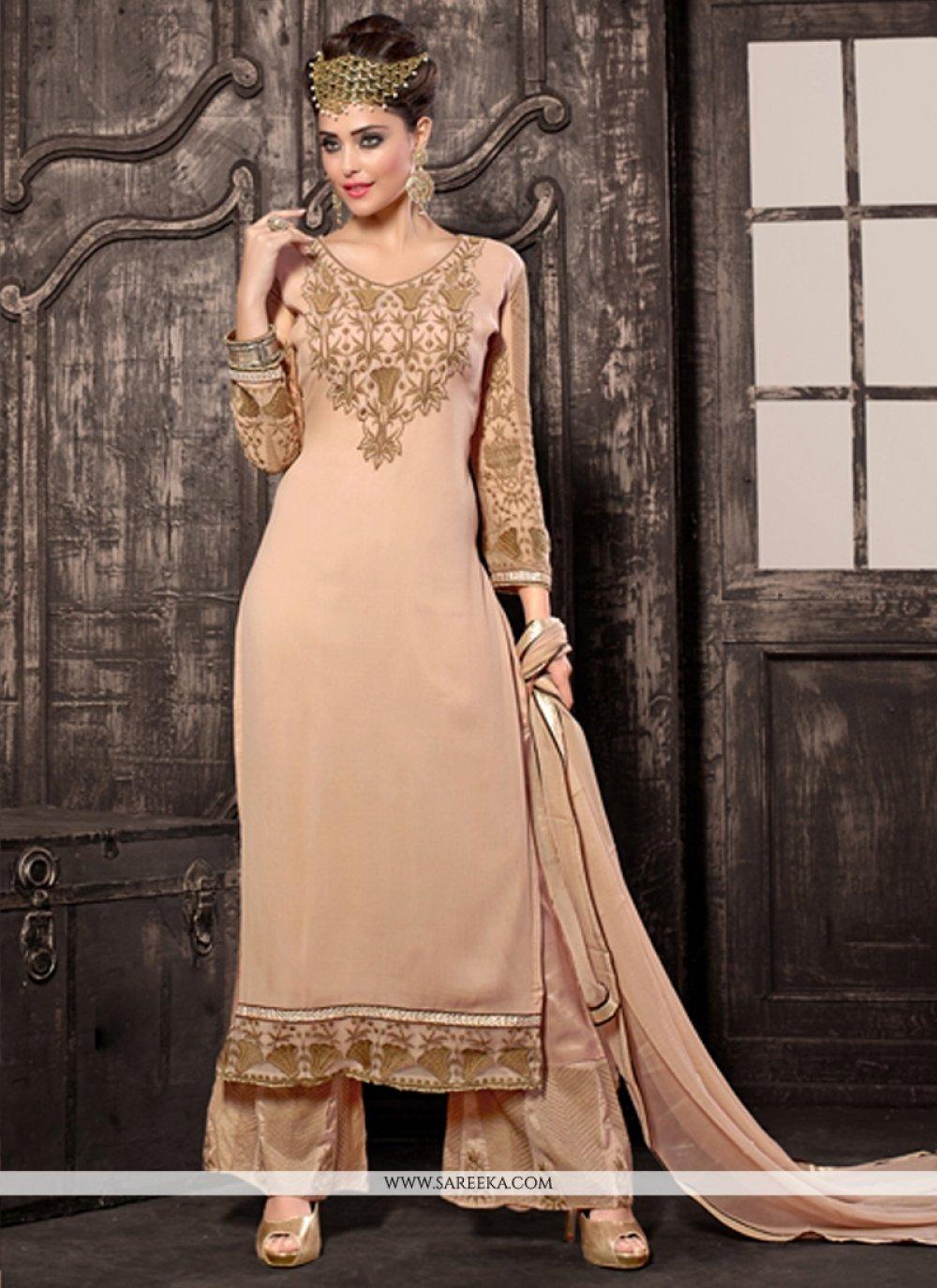 Cream Resham Work Designer Palazzo Suit