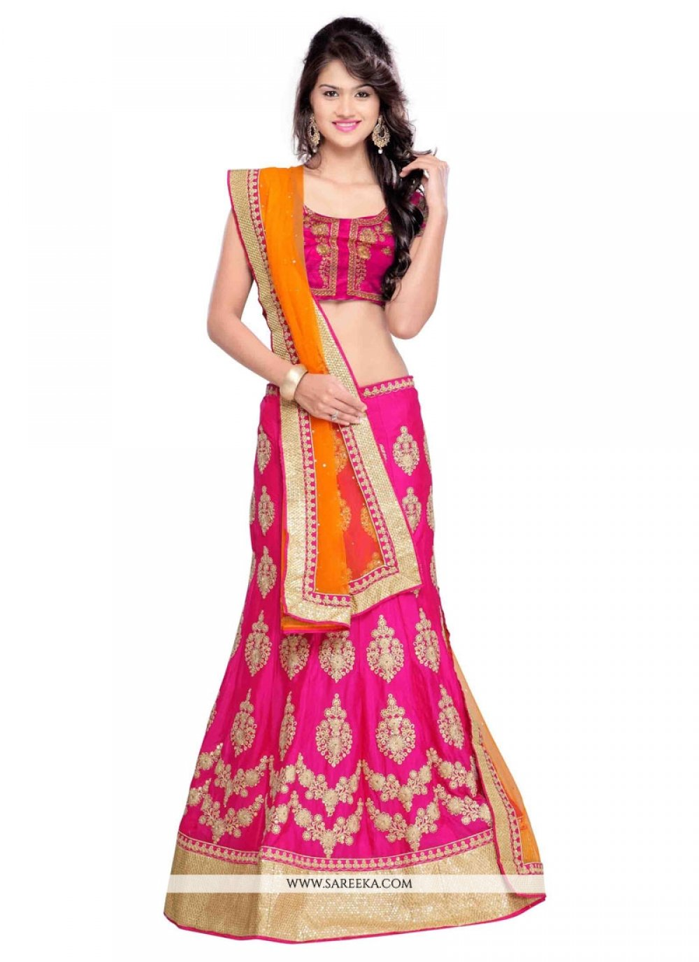 Faux Chiffon Embroidered Work A Line Lehenga Choli