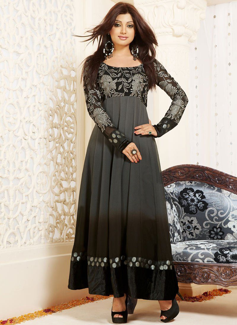 Grey Georgette Ankle Length Anarkali Suit