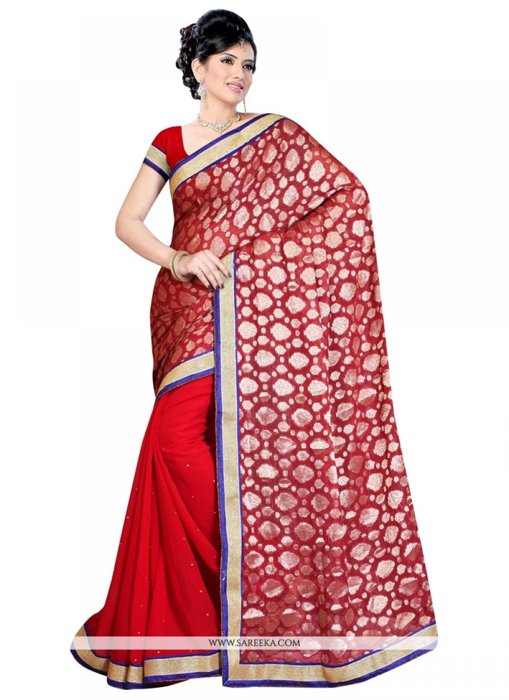 Red Print Work Designer Saree