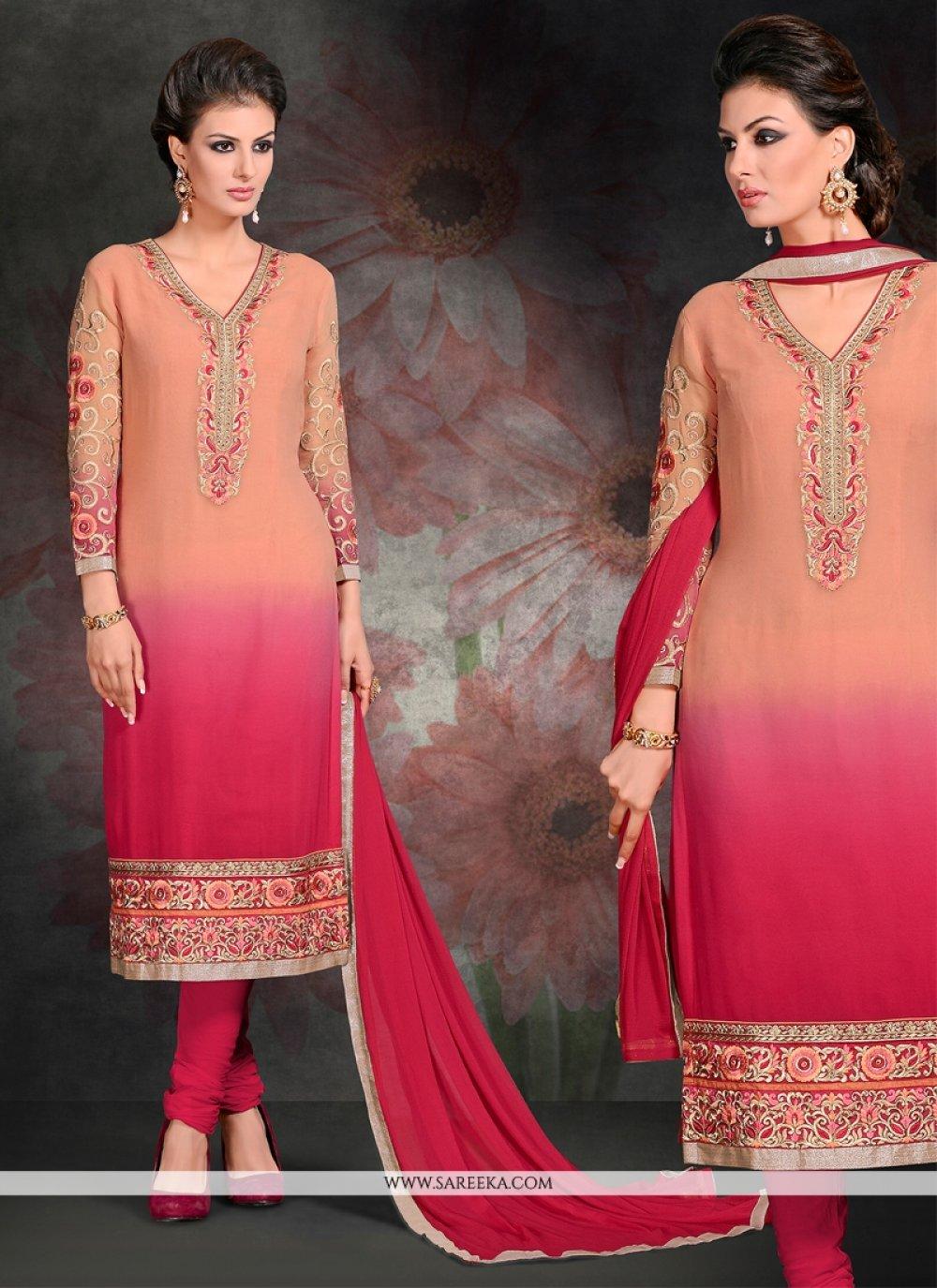 Georgette Hot Pink Embroidered Work Churidar Salwar Kameez