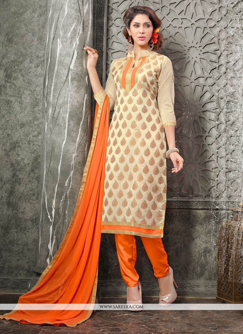 Lace Work Beige and Orange Chanderi Churidar Designer Suit