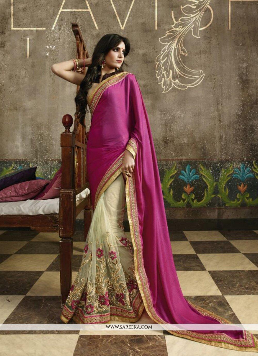 Lace Work Cream Designer Saree