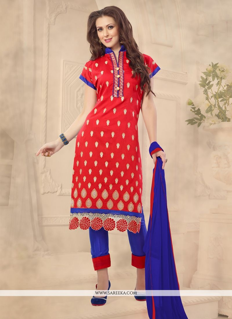 Chanderi Embroidered Work Churidar Designer Suit