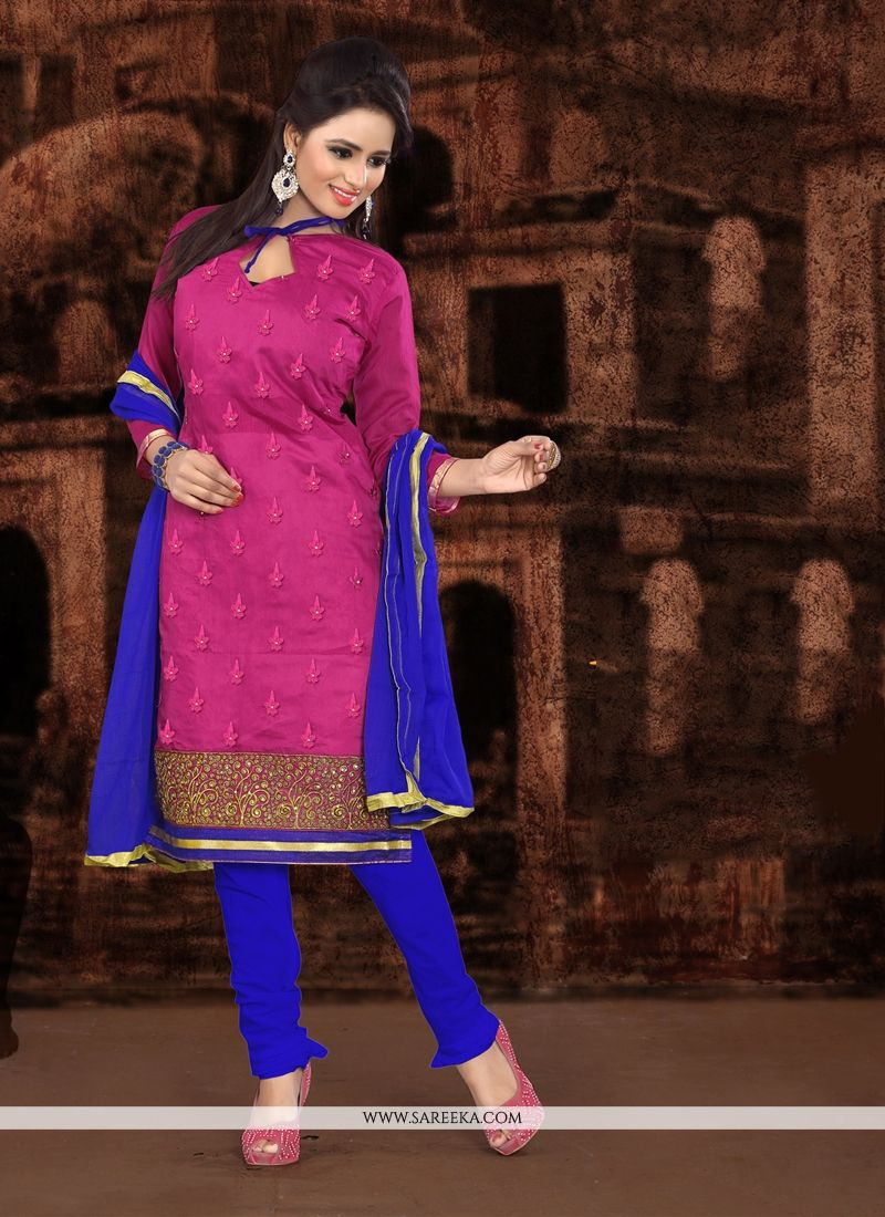Embroidered Work Hot Pink Churidar Designer Suit