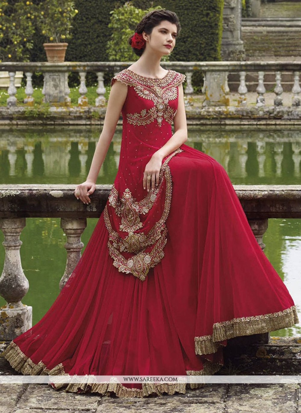Georgette Embroidered Work Designer Gown
