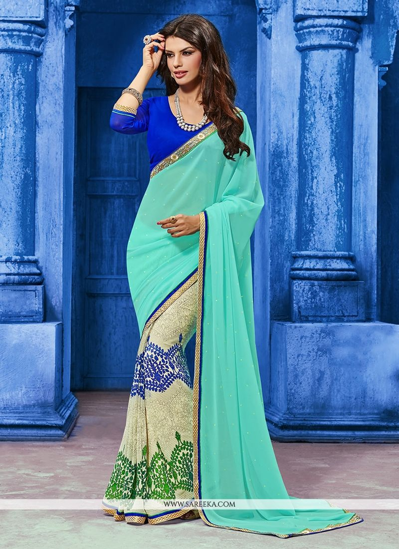Print Work Blue and Sea Green Georgette Designer Saree
