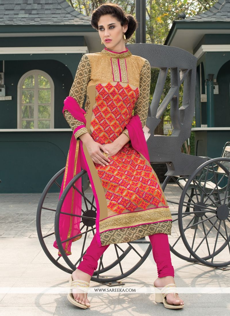 Embroidered Work Georgette Churidar Salwar Kameez