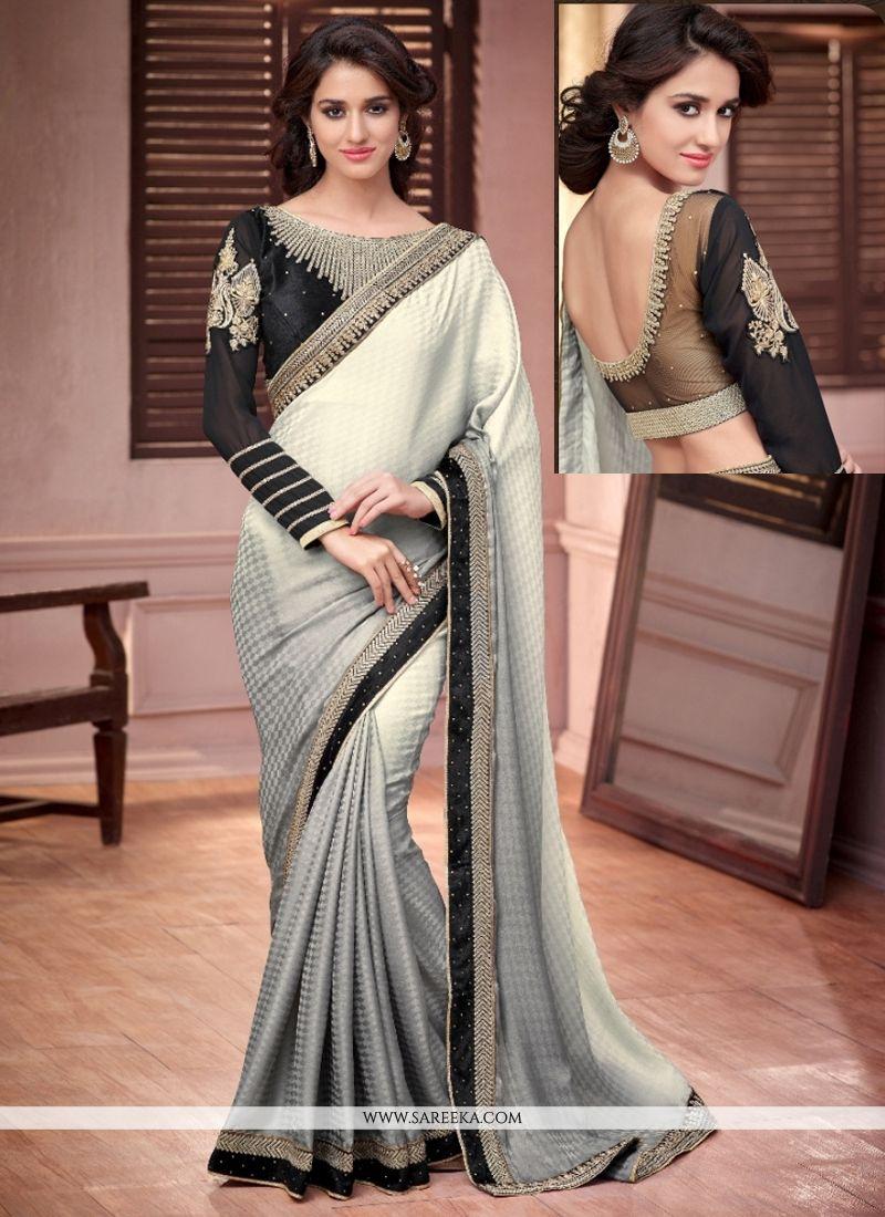 Grey and White Crepe Jacquard Designer Saree
