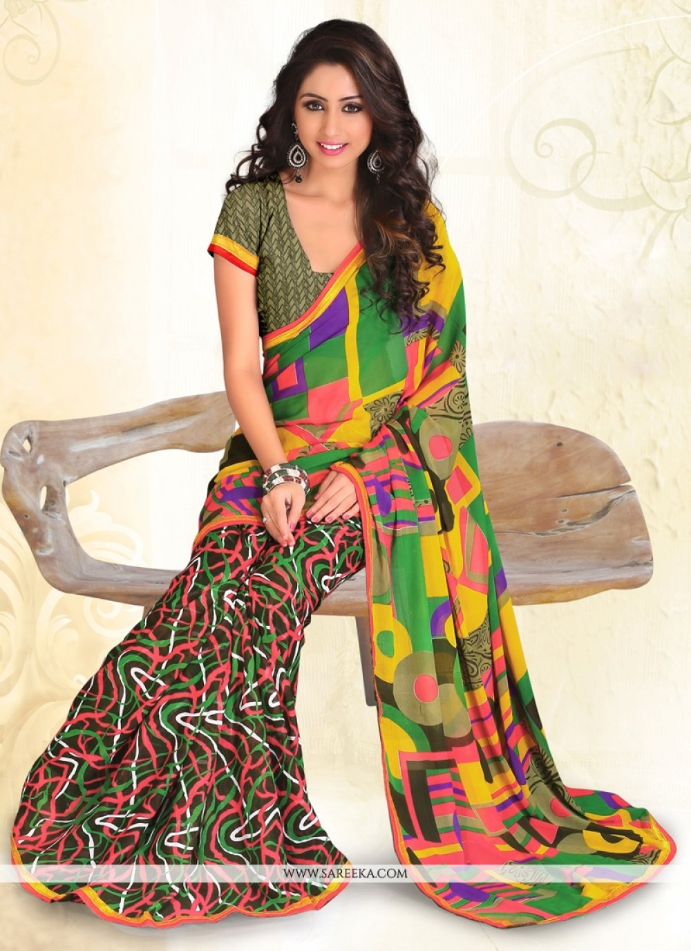 Multi Colour Print Work Faux Chiffon Casual Saree