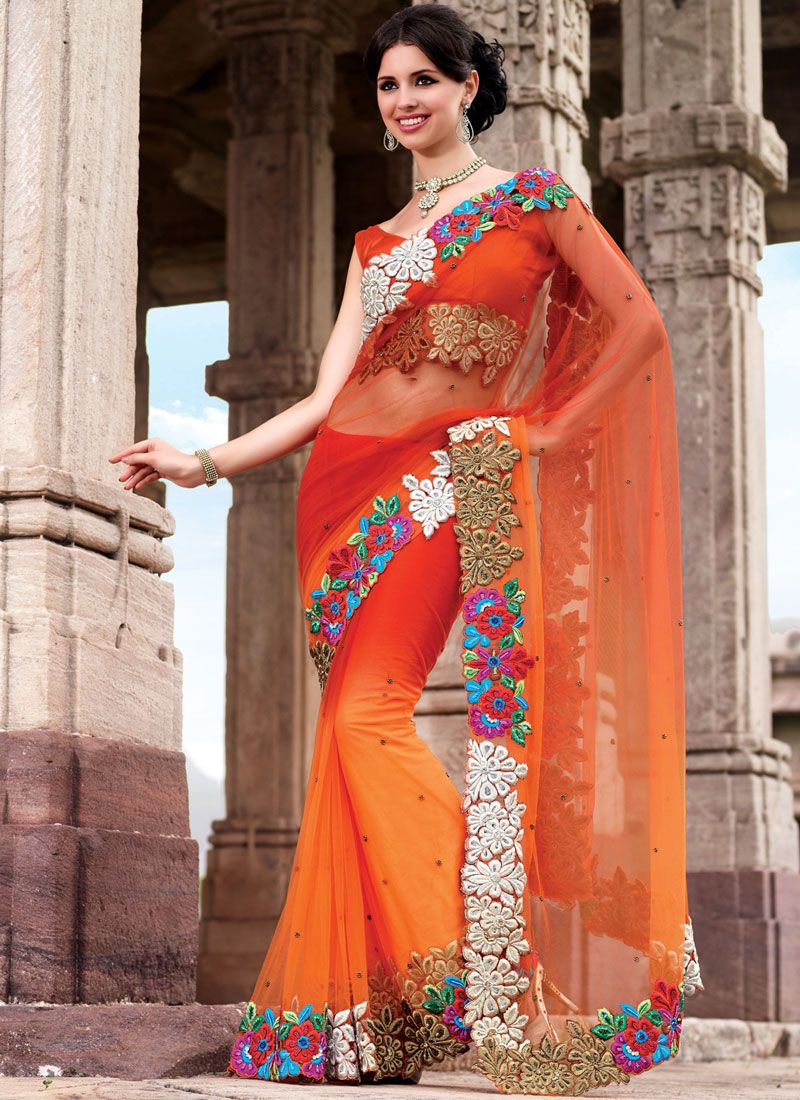 Shaded Orange Net Saree
