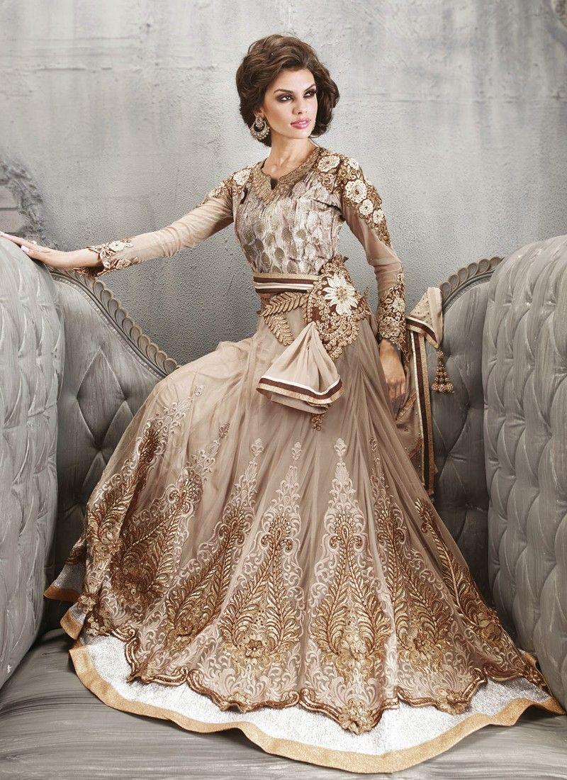 Jaaz Beige Zari Work Net Anarkali Salwar Suit