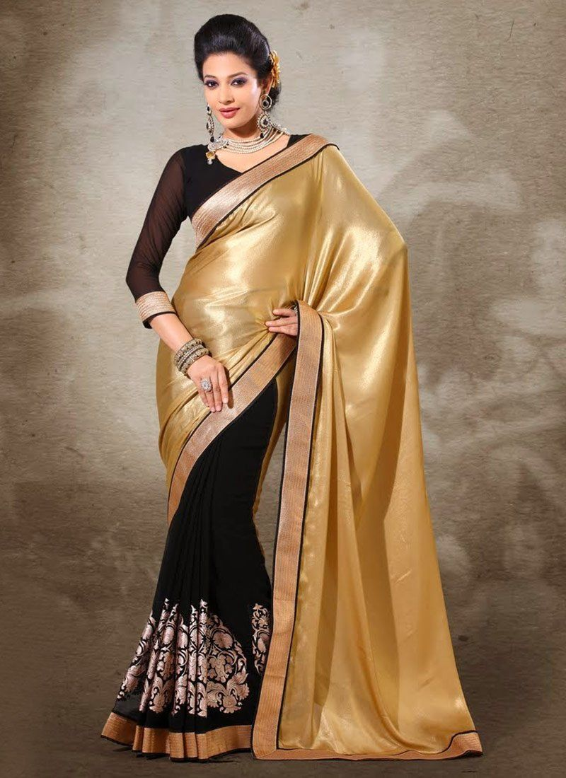 Jaaz Black And Gold Shaded Viscose Half And Half Saree