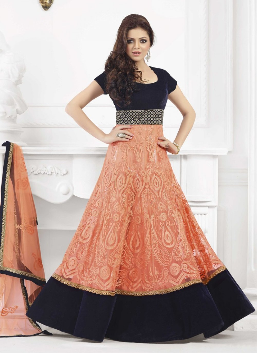 Jaaz Black And Peach Resham Work Net Anarkali Suit