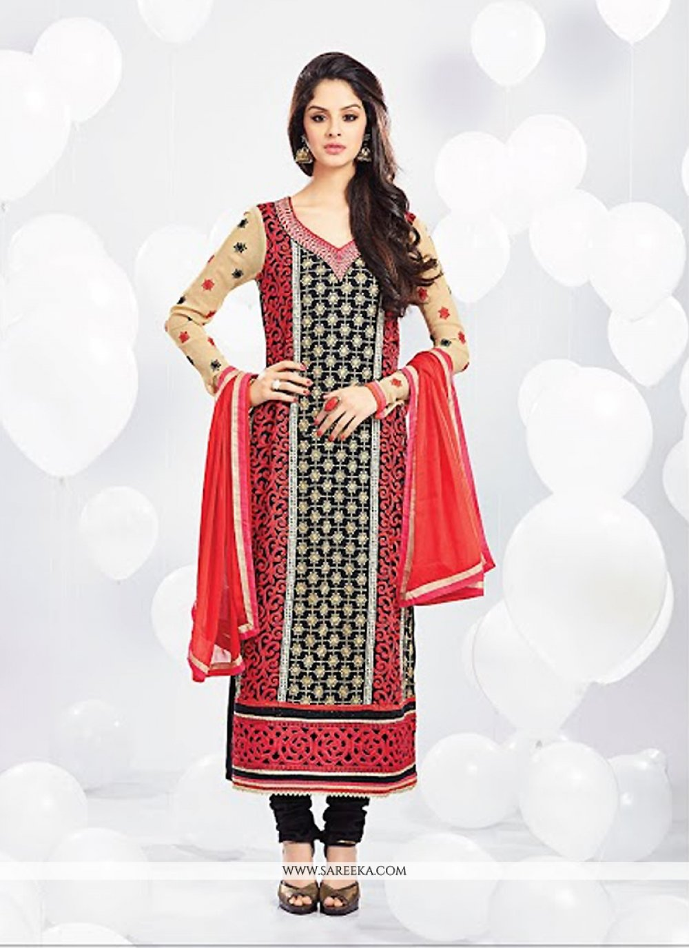 Jaaz Black Resham Work Churidar Suit
