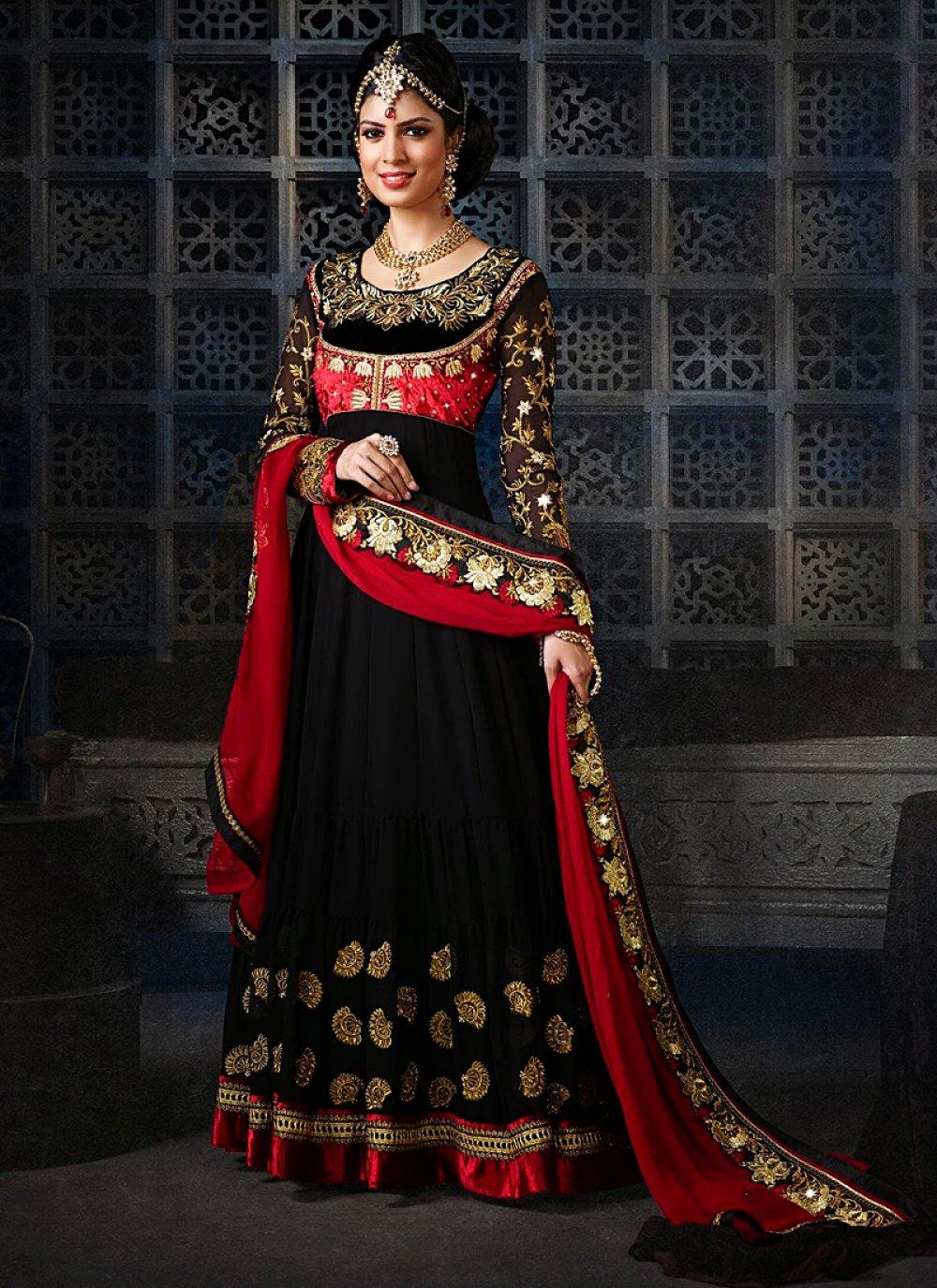 Jaaz Black Zari Work Velvet Anarkali Salwar Suit