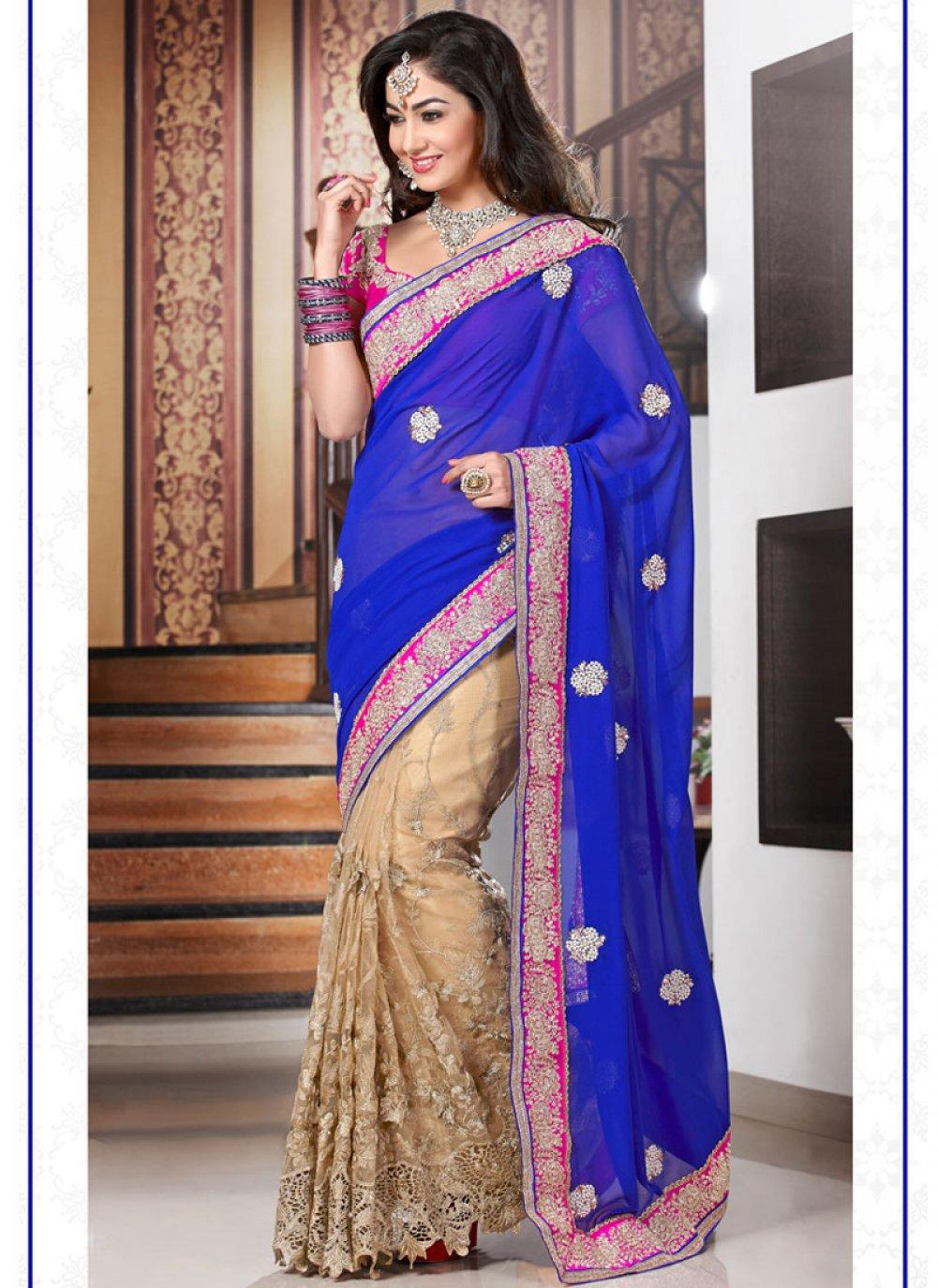 Jaaz Blue And Cream Zari Work Georgette Designer Saree