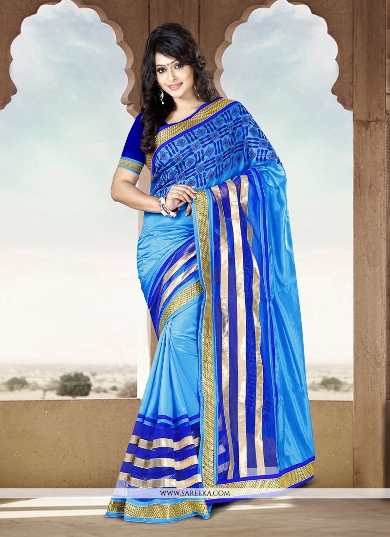 Jaaz Blue Silk Casual Saree