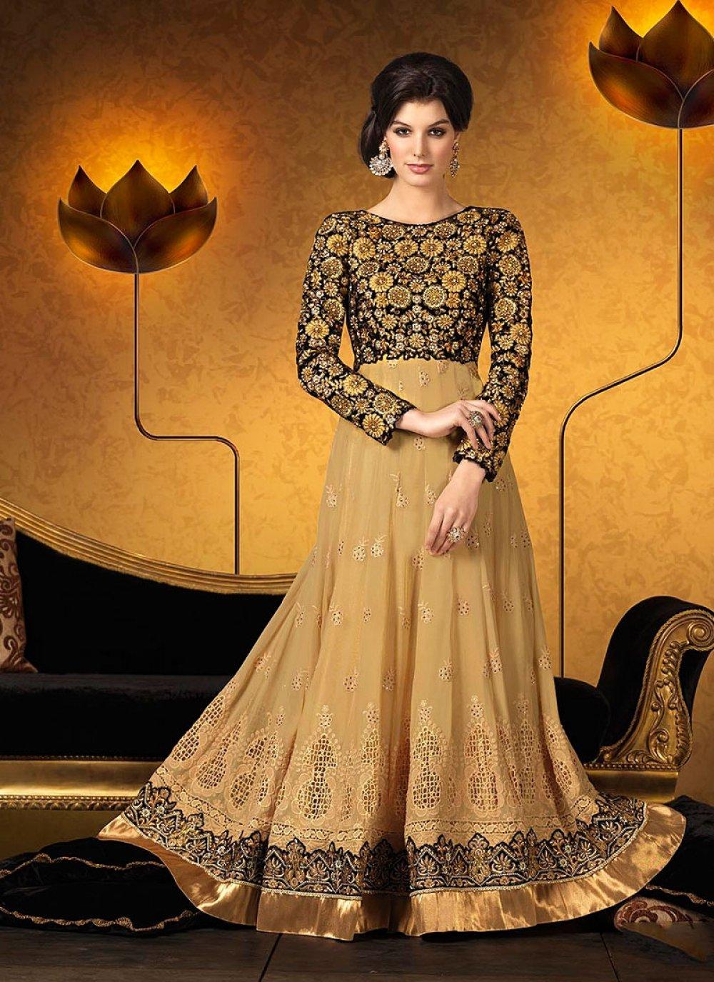 Jaaz Cream Resham Work Georgette Anarkali Suit