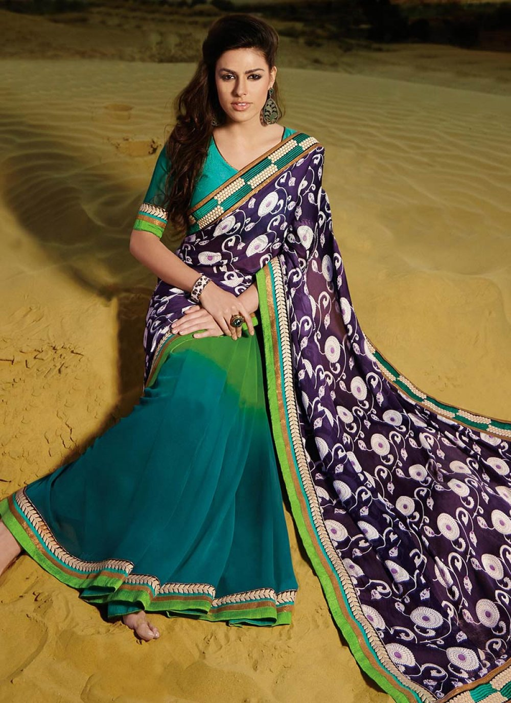 Jaaz Green And Teal Patch Border Faux Georgette Saree